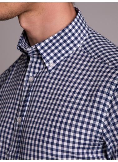 Dufy Sıyah Pötıkare Kısa Kol Erkek Gömlek - Regular Fıt Lacivert